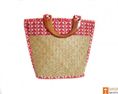 Sitalpati Handmade Bag with Red White Mix patterns(#615)-gallery-0