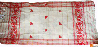 Assamese Gamosa (Pat Silk) - Imprinted Mini Jaapis(#633)-gallery-0
