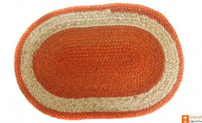 Jute Handmade Doormat (Orange and Natural Jute colour)(#646)-gallery-0