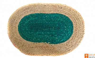 Jute Handmade Doormat (Green and Natural Jute Color)(#648)-gallery-0