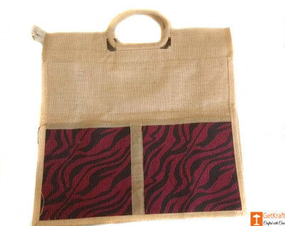 Jute Tote Bag (Maroon and Natural Jute color)(#660)-gallery-0