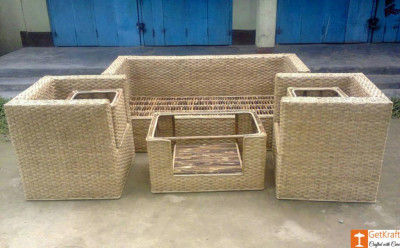 Cane Sofa Setting with Extra Table Set Ideal for Home Decor(#670)-gallery-0
