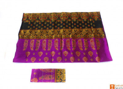 Black and Purple Traditional Pat Mekhela Chadar(#675)-gallery-0