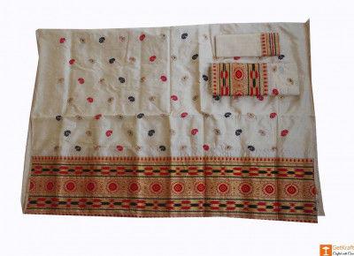 Gorgeous Pat Muga Assamese Mekhela Chador Set(#679)-gallery-0