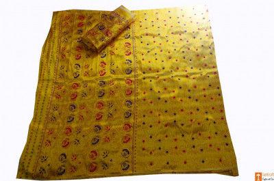 Assamese Pat Chador Mekhela(Royal Yellow) Set(#695)-gallery-0