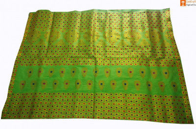 Classic Pat Mekhela Chador Set (Parrot Green) from Sualkuchi(#700)-gallery-0