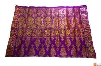 Purple and Golden Assamese Silk Saree Set from Sualkuchi(#706)-gallery-0