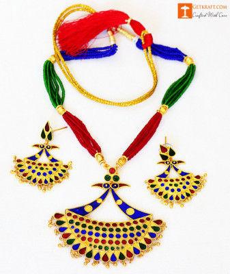 Gorgeous Lukaparo Set Assamese Designer Necklaces and Earrings(#723)-gallery-0