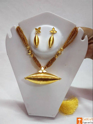 Medium Sized Hilikha Pendant Necklace Assamese Traditional Jewellery(#726)-gallery-0