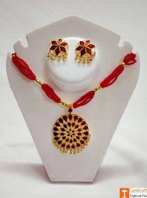 Traditional Assamese Jewellery - Medium Sized Japi Necklace Set(#727)-gallery-0