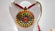 Large Sized Japi Pendant Designer Necklace and Earrings Assamese Jewellery Set(#729) - Getkraft.com