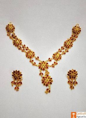 Xewali Phool Haar Set Assamese Traditional Designer Jewellery(#730)-gallery-0