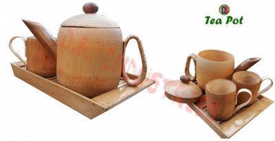 Bamboo Tea pot Crockery Set 1 Tea pot 2 Mugs Assam Handicrafts(#779)-gallery-0