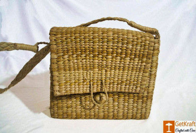 Natural Straw Handbag with Cover and Button Closure(#795)-gallery-0