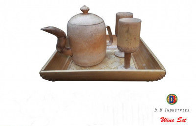 Charming Bamboo Wine Set of 1 Pot 2 Glasses(#801)-gallery-0