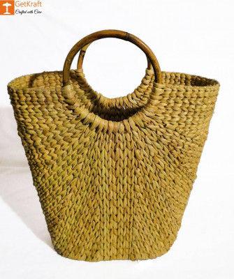 Natural Straw Natural V-bag for Women(#842)-gallery-0
