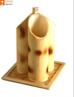 Pen Holder or Stand made from Bamboo(3 slots)(#851)-gallery-0