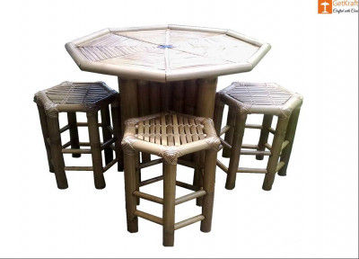 Bamboo Mini Tea Table Bar Table Set(4 Chairs)(#881)-gallery-0