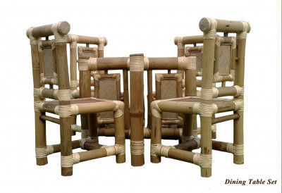 Bamboo 4 Seater Dining Table Set(#882)-gallery-0