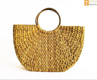 Womens Handmade U bag made of Natural Straw(#887)-gallery-0