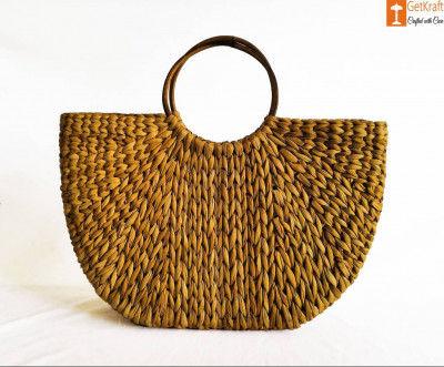Womens Handmade U bag made of Natural Straw(#888)-gallery-0
