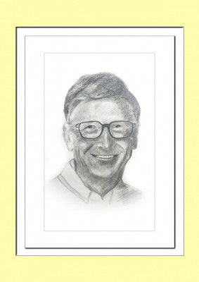 Pencil Sketch Single Person Poster without frame of Bill Gates(#933)-gallery-0