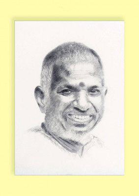 Pencil Sketch Single Person Poster without frame of Music Maestro Ilayaraja(#936)-gallery-0