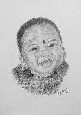 Pencil Sketch Single Person Poster without frame a Baby(#942)-gallery-0