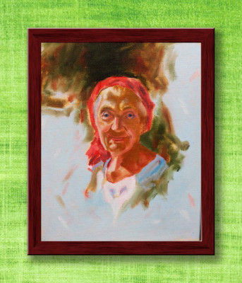 Framed Oil Painting of an Old Woman(#946)-gallery-0