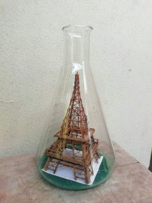 Handcrafted Mini Eiffel Tower Bamboo Structure in Conical Glass Beaker(#947)-gallery-0