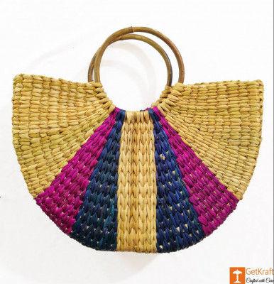 Natural Straw Stylish Multipurpose Bag(#949)-gallery-0