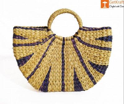 Natural Straw Striped Handbag Navy Blue(#950)-gallery-0