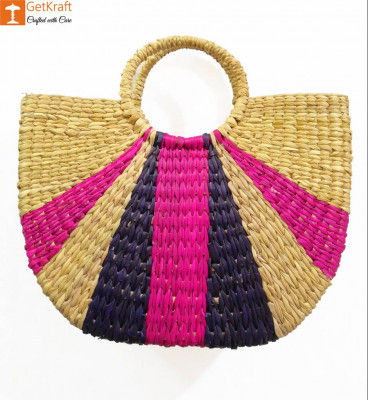 Natural Straw Striped Multipurpose Handbag Deep Purple and Pink(#951)-gallery-0