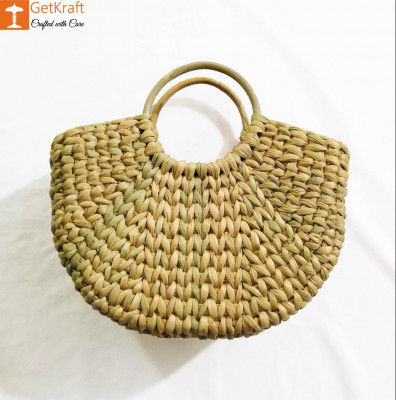Natural Straw Mini Handmade U bag(#955)-gallery-0