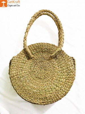 Natural Straw Large Round Handbag for Women(#960)-gallery-0