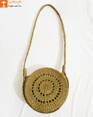 Natural Straw Round Stylish Sling Bag for Women(#962)-gallery-0