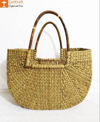 Natural Straw U-Shaped Fancy Handbag with Long Handles(#967)-gallery-0