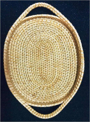 Oval Rattan Cane Tray(#990)-gallery-0