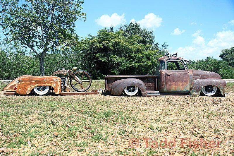 1948 Chevy rat rod and Custom bike