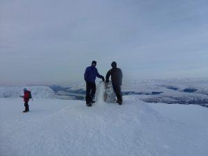 Ben Nevis In Winter triangulation pillar
