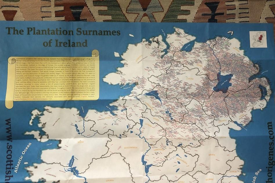 Irish Origenes Plantation Surnames of Ireland Map