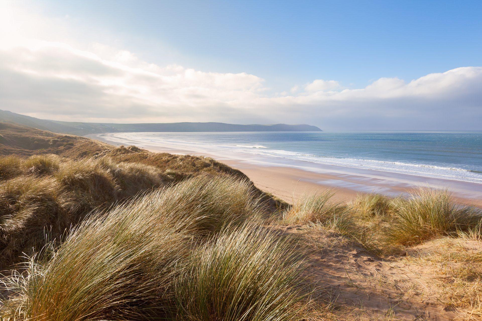 Sand Dunes and Woolacombe Beach in Devon