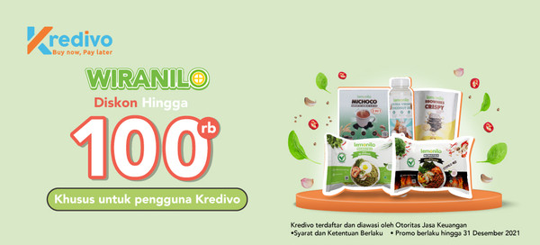 Dapatkan Diskon hingga 100 rb untuk pembayaran menggunakan cicilan  Kredivo 6 dan 12 bulan, khusus bagi Wiranilo