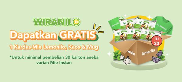 Beli 30 karton Mie Instan Lemonilo GRATIS 1 karton Mie Goreng, Mug, & T-Shirt