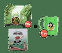 Paket Mie Kuah Rasa Ayam Bawang Isi 20 dan Michoco GRATIS Mug Mama Nilo