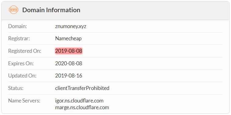ZnuMoney.xyz Domain Name Registration Date