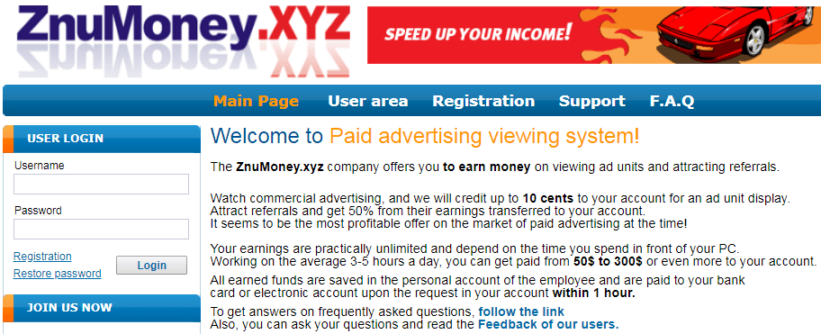 ZnuMoney.xyz Identical Scam