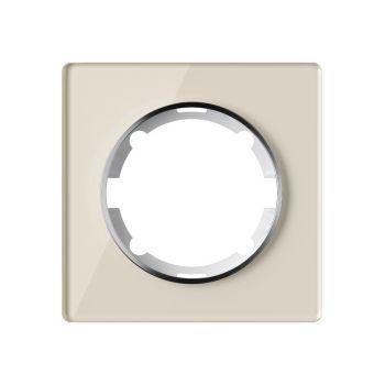 Рамка стеклянная OneKeyElectro, серия Garda, одинарная, цвет бежевый - фото 1