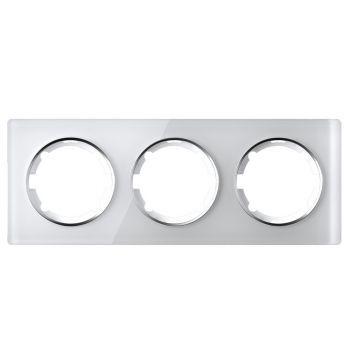 Рамка стеклянная OneKeyElectro, серия Garda, горизонтальная, тройная, цвет белый - фото 1
