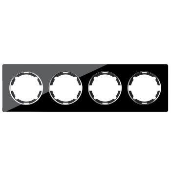 Рамка стеклянная OneKeyElectro, серия Garda, горизонтальная, на 4 прибора, цвет чёрный - фото 1